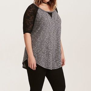 Torrid Gray Hacci Knit Lace-Sleeve Tee - 0 (12-16)